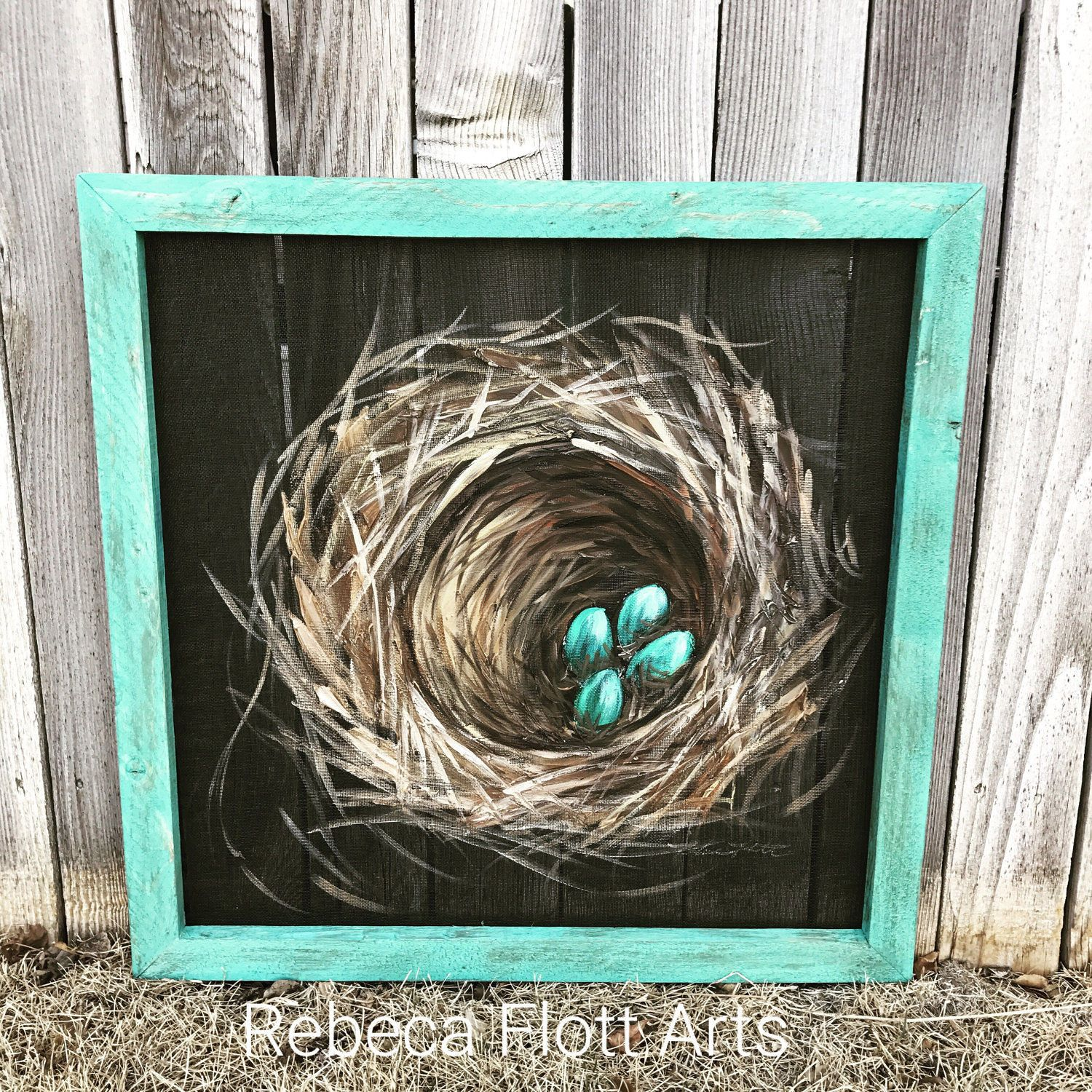 Bless This Nest Nest Painting On Window Screen With A Teal Frame In 2020 Painting On Glass Windows Painting Window Art