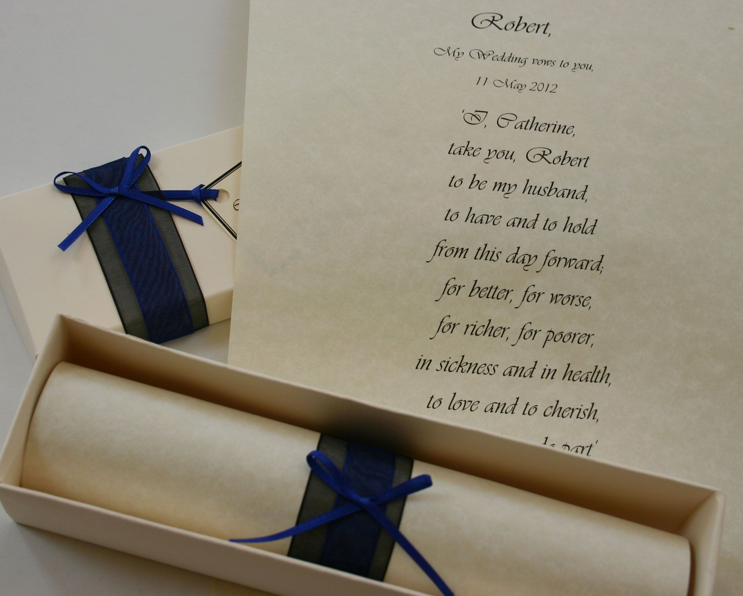 Wedding Vow Keepsakes Vows Recorded On A Keepsake Scroll