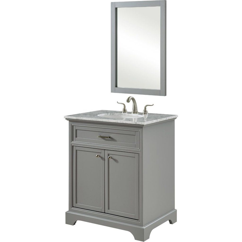 Americana 30 X 35 2 Door Vanity Cabinet With Mirror Light Grey Finish Vf15030gr Single Bathroom Vanity Vanity Vanity Cabinet