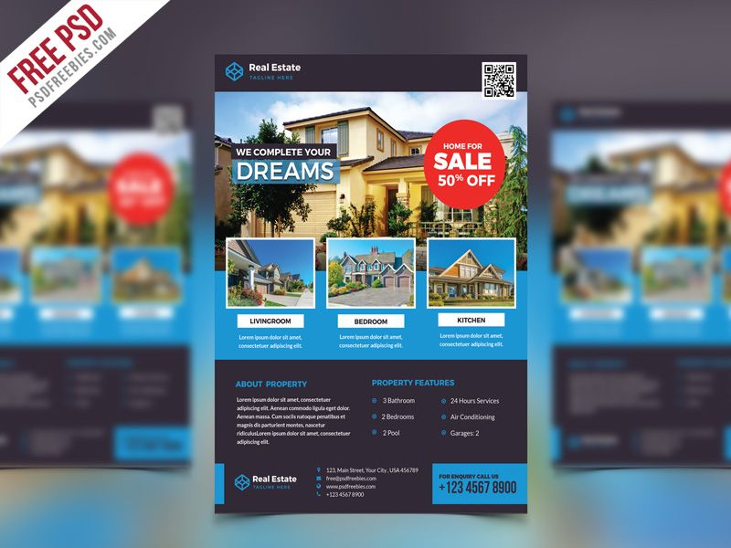 free psd real estate flyer psd template free file freebie