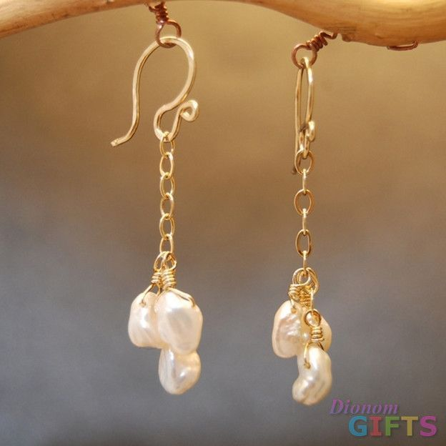 """Cluster of keishi pearls on chain, 1-1/4"""" Earring Gold Or Silver"""