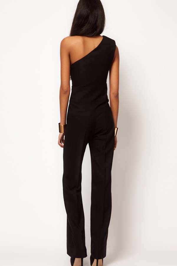 6fa00ff8e Black One Shoulder Sexy Jumpsuit @ Rompers And Jumpsuits For Women-Strapless  Jumpsuit,Long Sleeve Jumpsuit,Long Sleeve Romper,Short Rompers,Floral Romper  ...