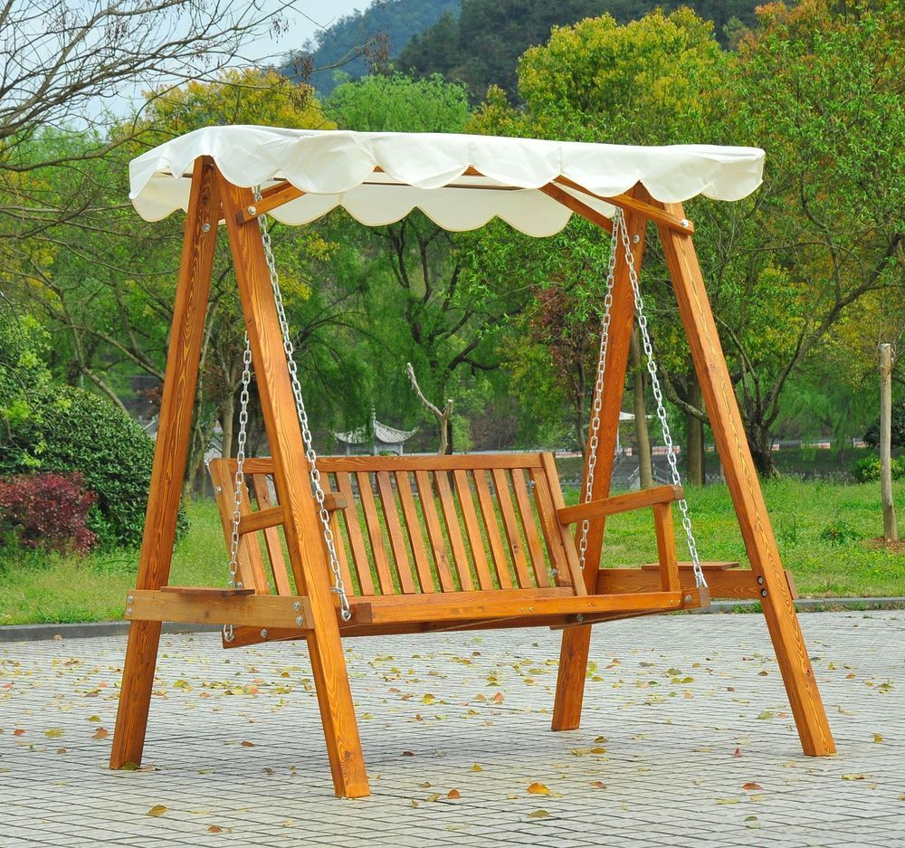 wooden swing seat shelter bench strong sturdy structure garden patio furniture