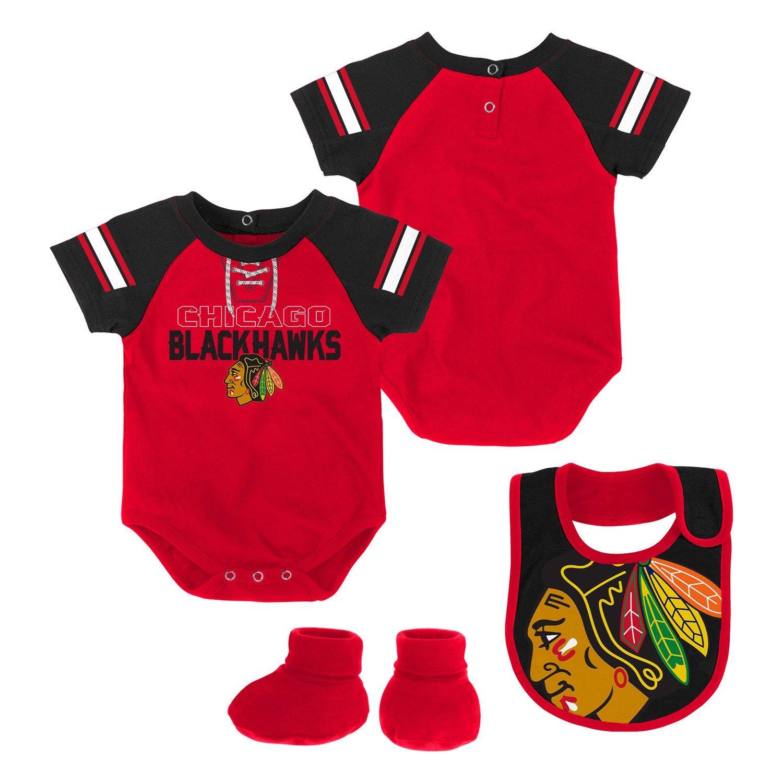 22e982023 Baby Chicago Blackhawks 3-Piece Bodysuit, Bib & Booties Set | Design ...
