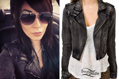 """Lexus Amanda's Forever 21 Denim Moto Jacket ($27.80) has the styling of a leather jacket, but made out of black distressed denim. She writes """"My first jean jacket, never been a huge fan but I love this one."""""""