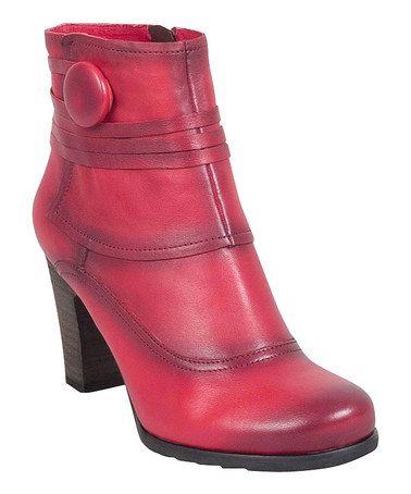 Loving this Red Nikos Leather Bootie on #zulily! #zulilyfinds