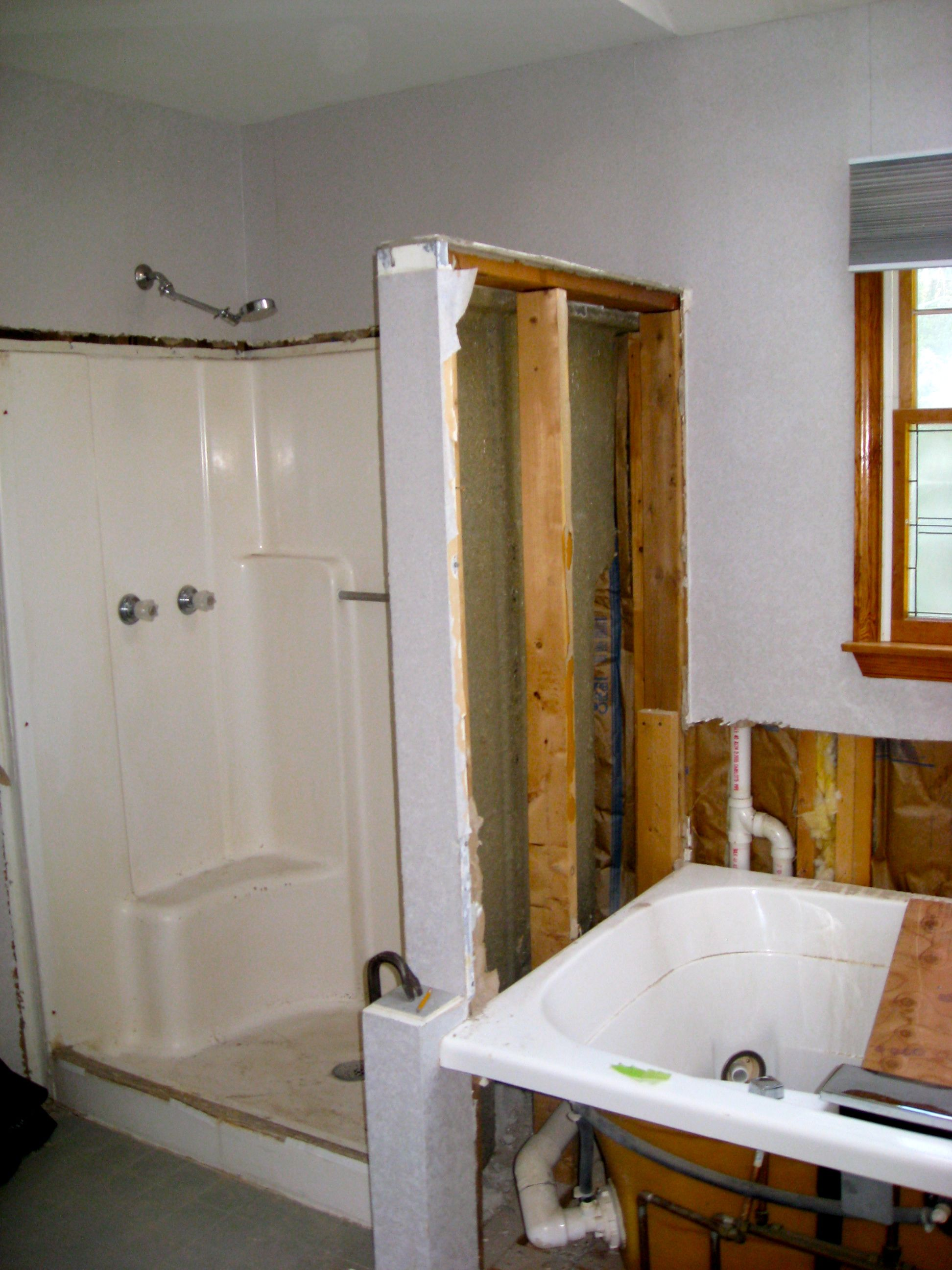 Start of demolition. Had existing fiberglass shower surround and ...