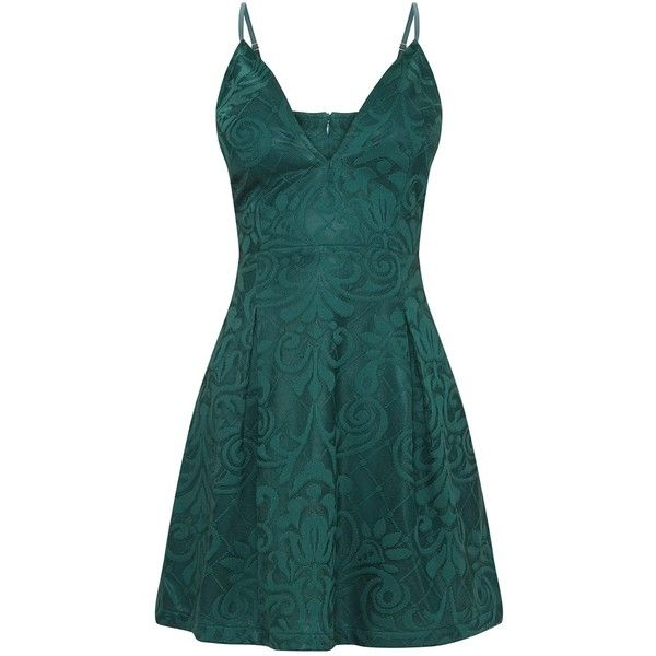 Emerald Green Lace Plunge Skater Dress ( 38) ❤ liked on Polyvore featuring  dresses 4e70af279
