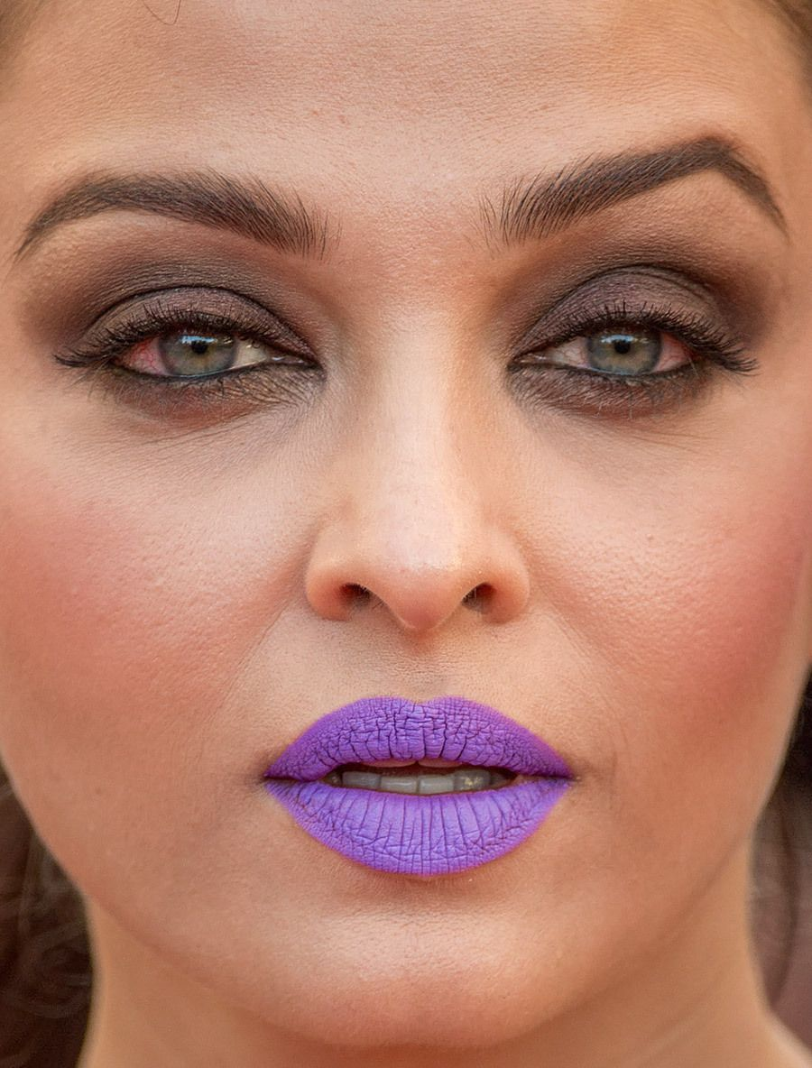 Aishwarya Rai Bachchan And Her Purple Lipstick At Cannes More Close Ups Of Aishwarya Can Be Found Here Aishwarya Rai Bachchan Purple Lipstick Aishwarya Rai