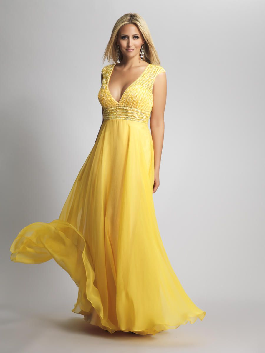 Deep V Neck Yellow Long Prom Dress with Beadings | Prom ...