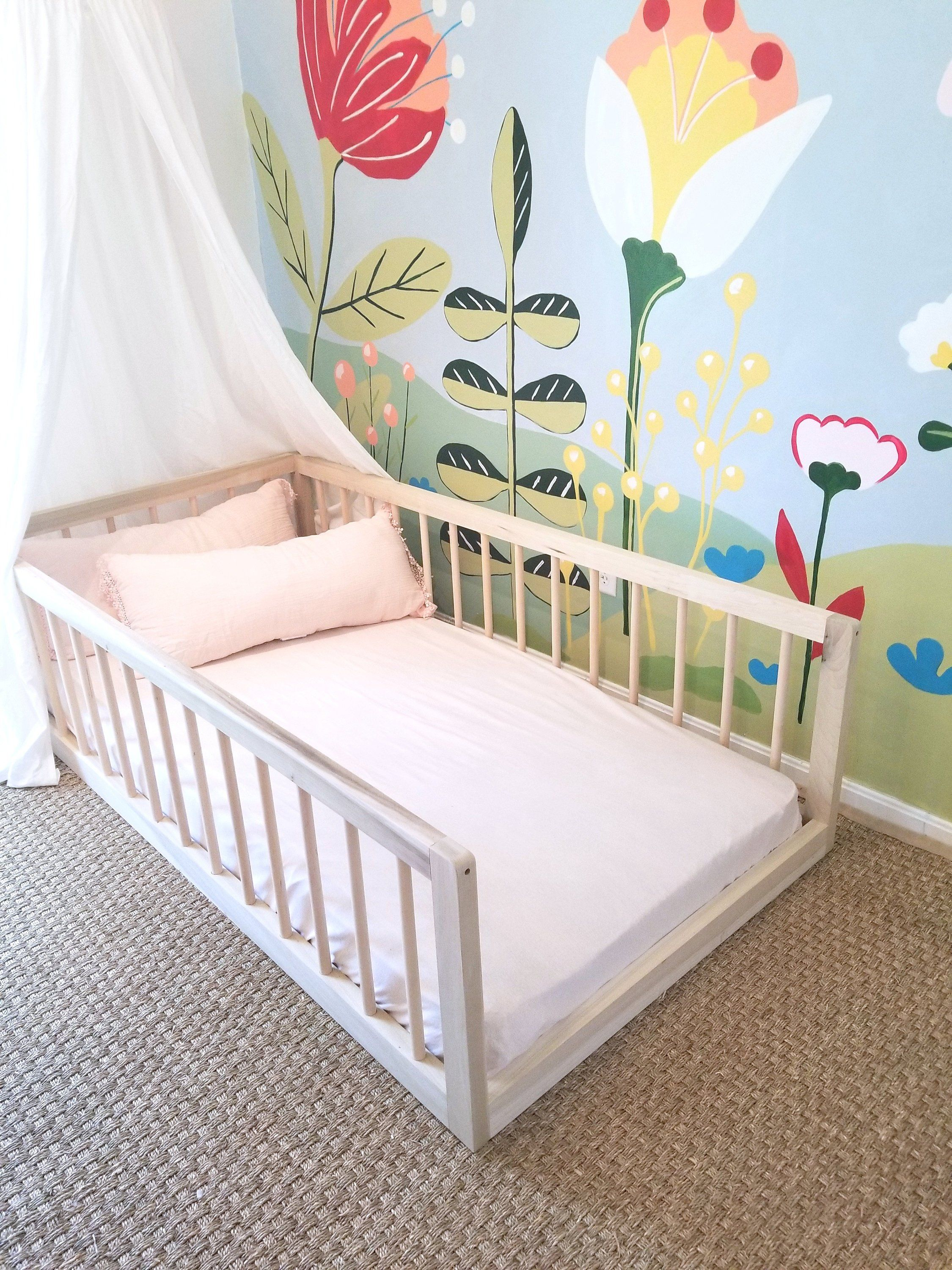 Twin Montessori Floor Bed With Three Round Spindle Railings Etsy