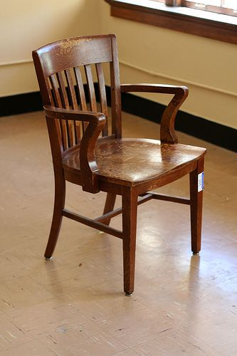 One of the notorious chairs from Garrison Hall. They don't need to be uncomfortable, anxiety will keep you awake.