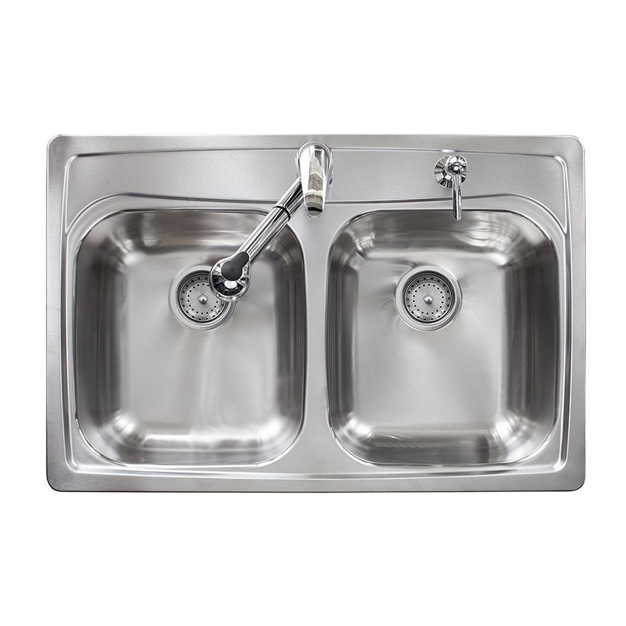 Kindred Essential 33-in x 22-in Stainless Steel Double-Basin ...