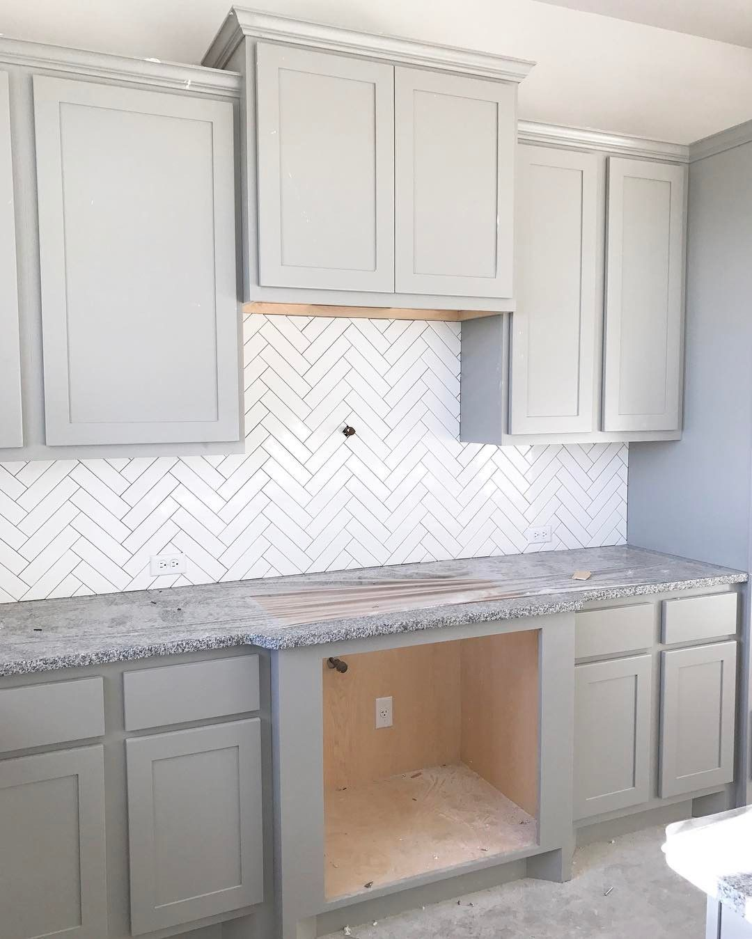 Holly Brad Ourfauxfarmhouse On Instagram Progress Pic Backsplash Is In No Grout Yet Mapei Warm Gray Coming But We Are Loving The 2x8 Tiles And