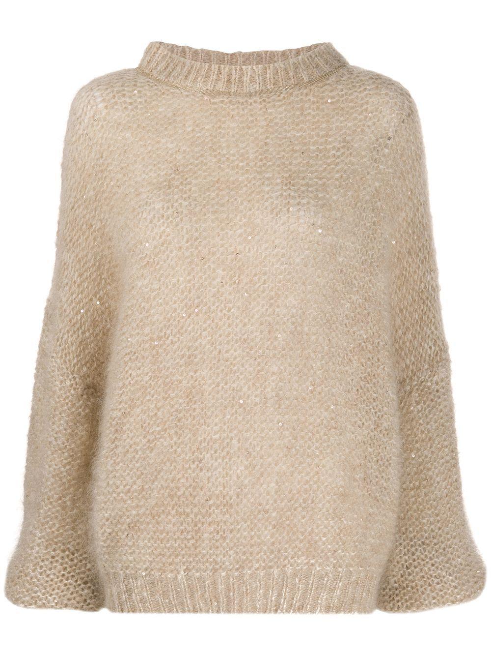 Brunello Cucinelli long sleeve chunky knit jumper - NEUTRALS