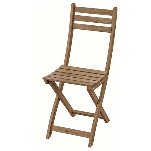 Askholmen Chair Outdoor Gray Brown Foldable Gray Brown Stained
