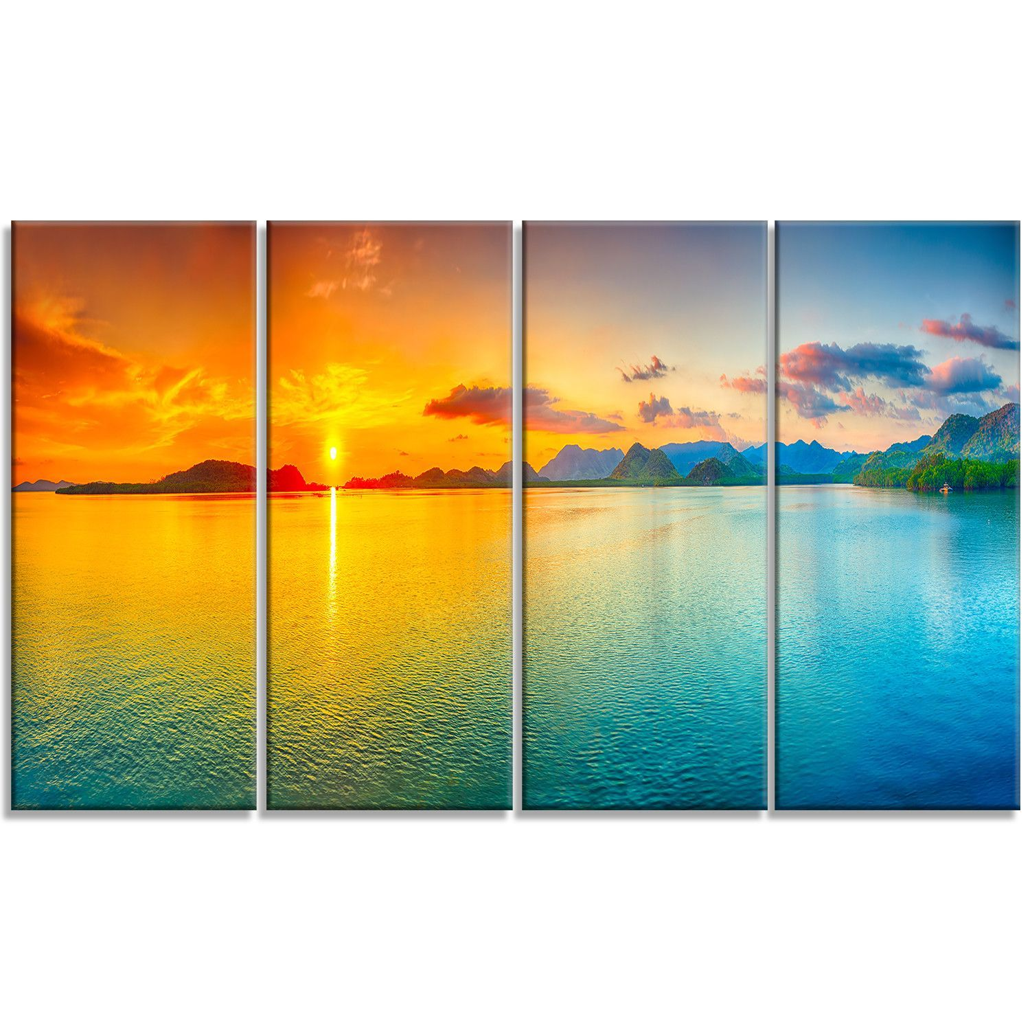 Designart Bright Sunset Panorama 4 Piece Photographic Print On Wrapped Canvas Set
