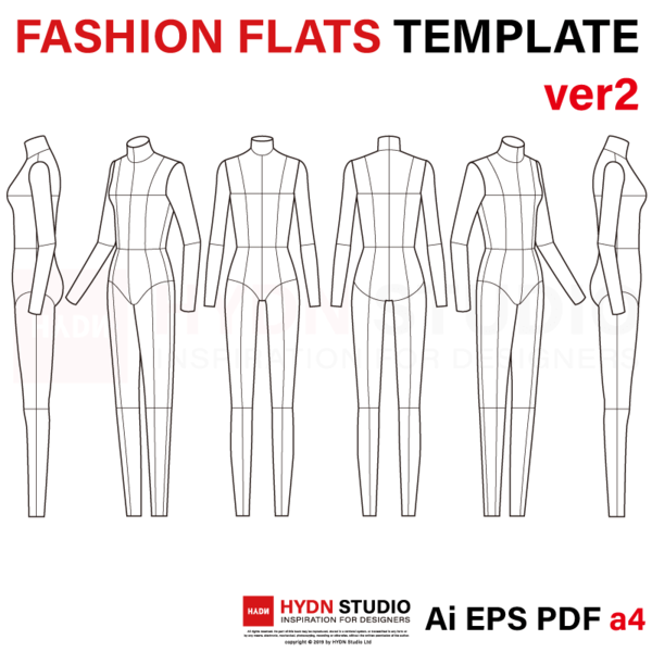 Female Fashion Flats Template Ver2 9head In 2020 Fashion Flats Fashion Templates Flat Sketches