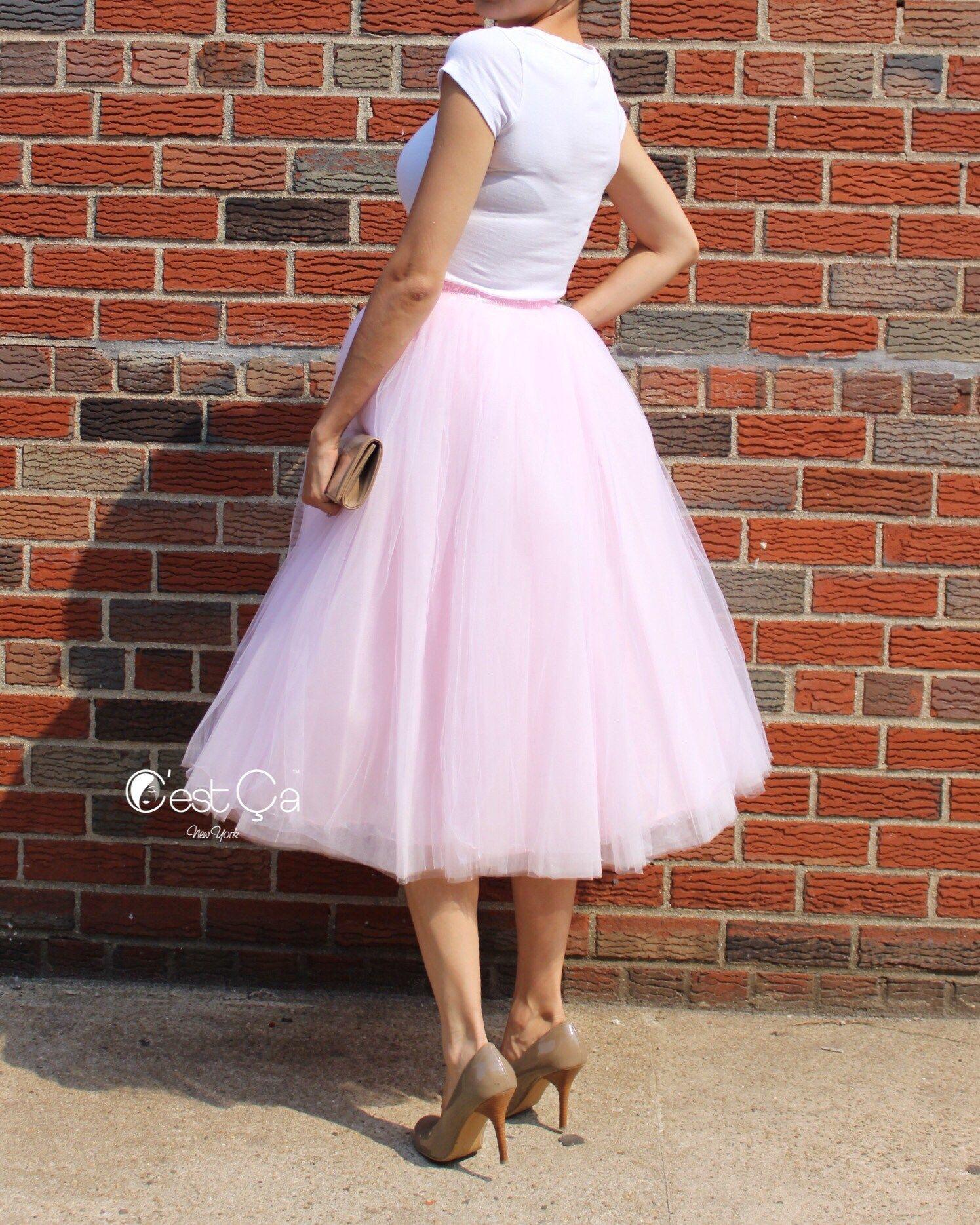 Clarisa Blush Pink Tulle Skirt - Tea Length | Molde y Modelo