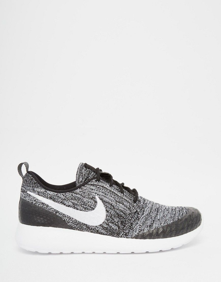 Image 2 of Nike Roshe Black & White Fly Knit Trainers