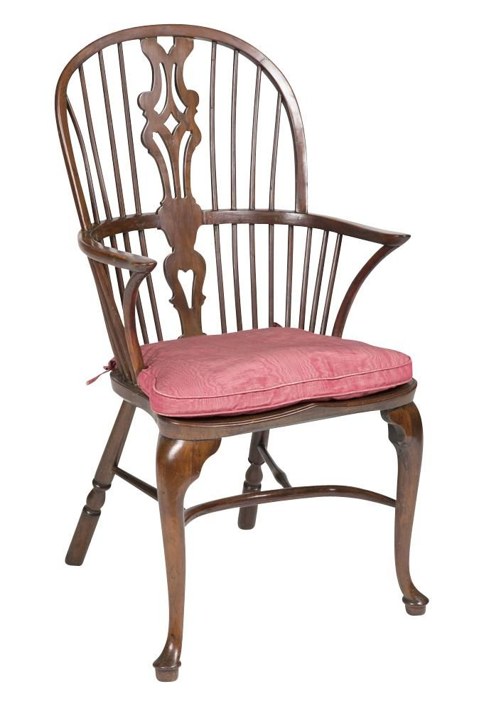English Yew Wood Queen Anne Windsor Armchair With Carolinean