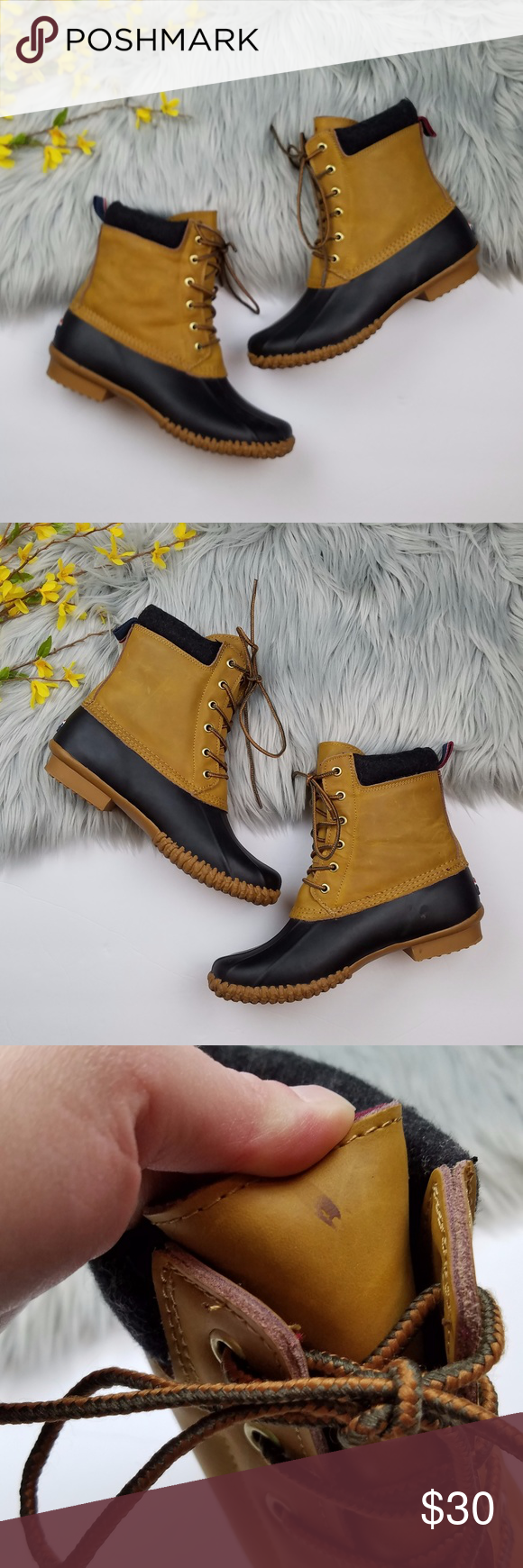 f18c74c55b3dff Tommy Hilfiger Charlie Duck Boots Light brown leather boots with black  rubber detailing along the bottom. Charcoal grey wool around the tops.