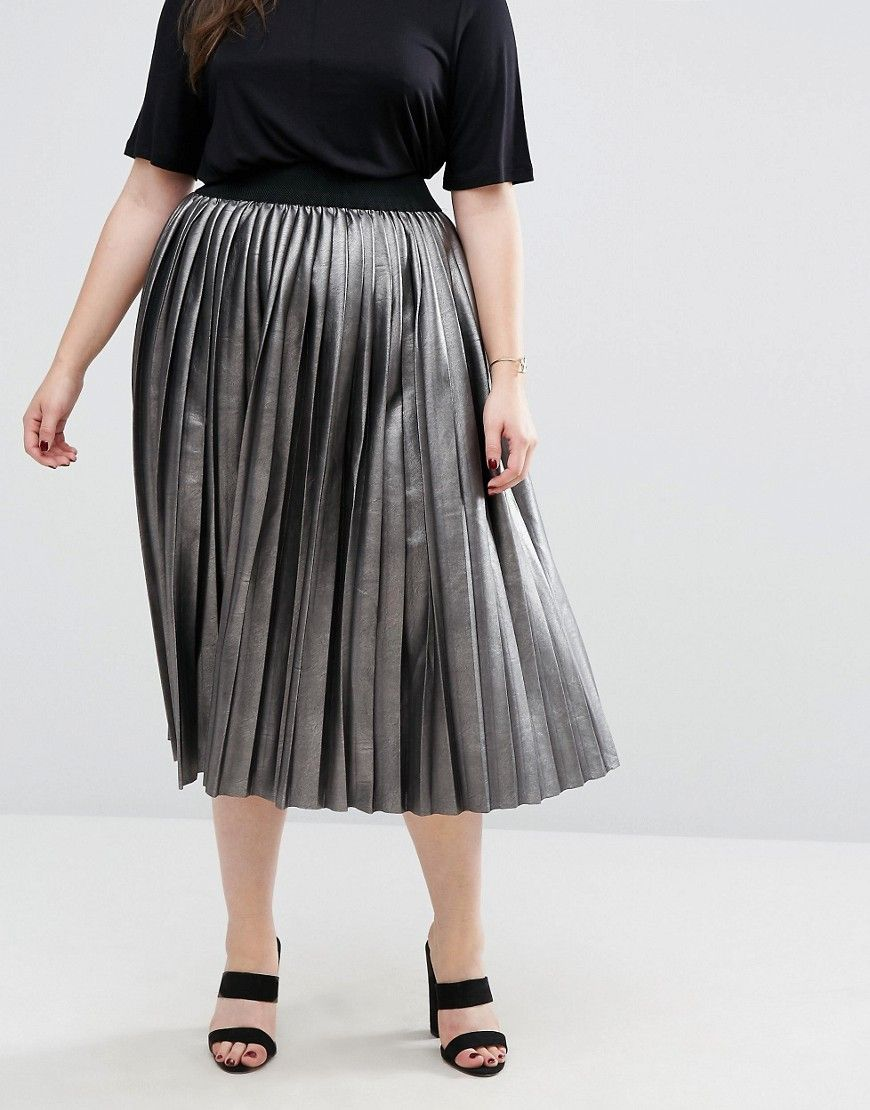 2d82e8199c2 Plus Size Fashion. Elvi Metallic Pleated Skirt
