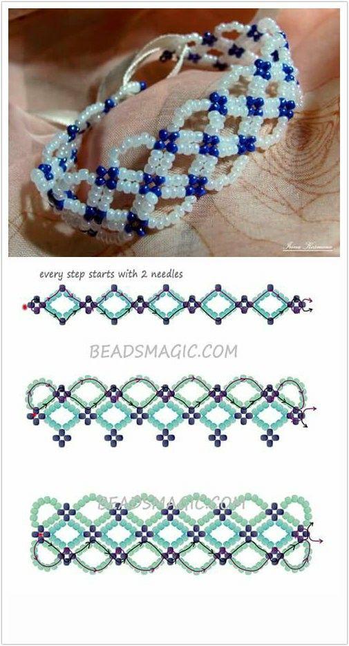 Free pattern bracelet santorini | beads magic | Pendientes bisutería ...
