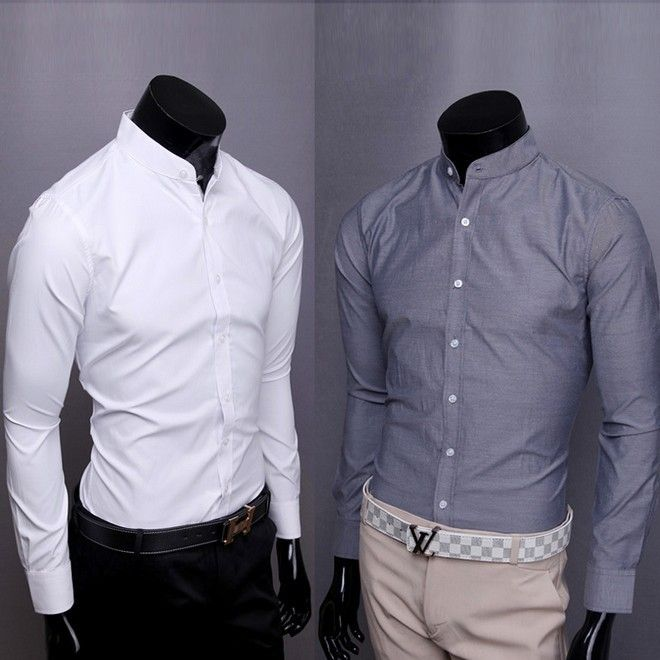 Hot new men's solid color mens long sleeve shirt sale stand collar ...