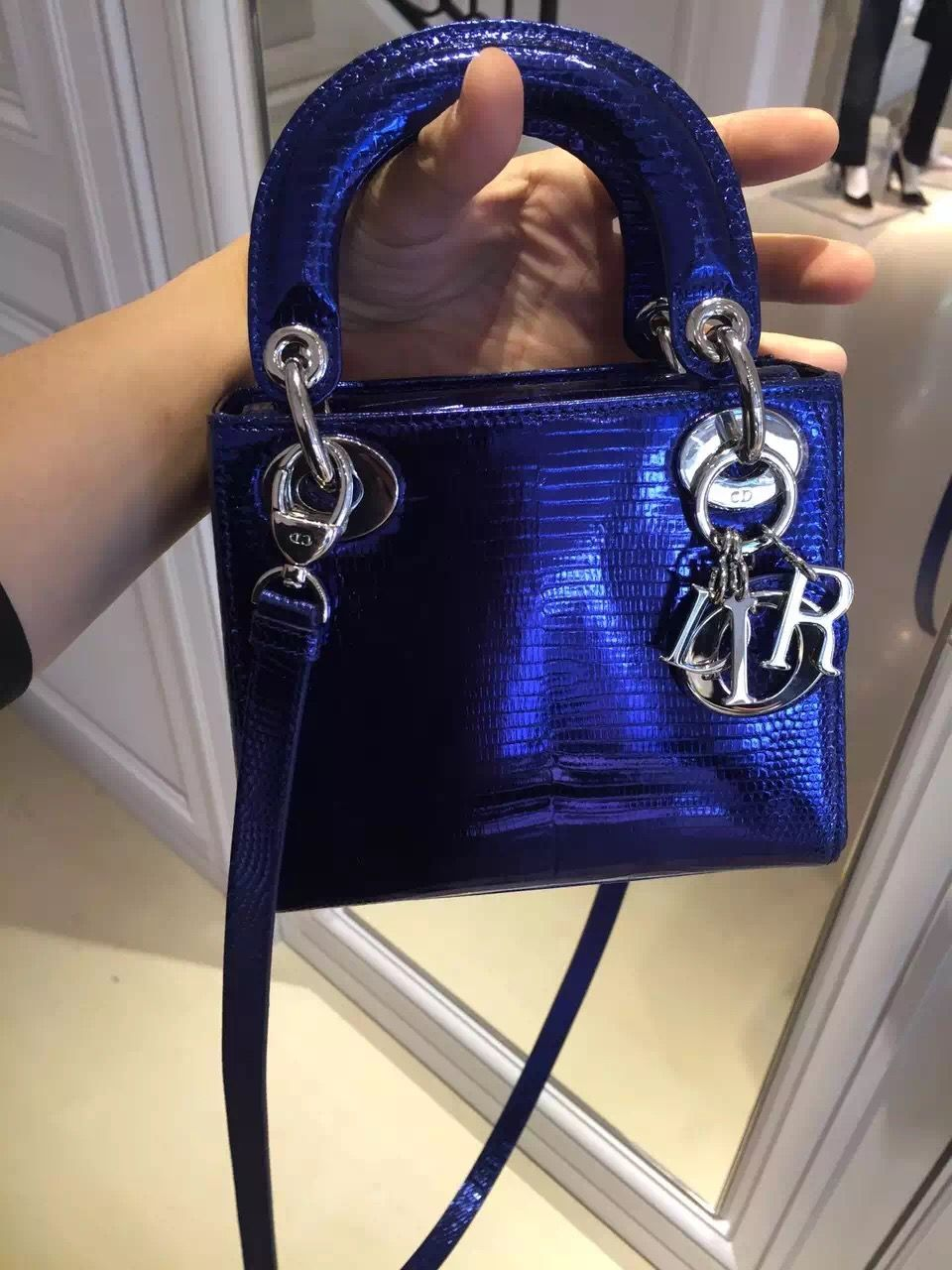4bd01b32abd Christian Dior Lady Dior mini bag blue metallic   All about the bag ...