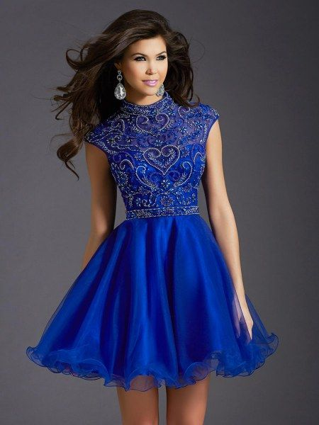 A Line Princess High Neck Short Tulle Royal Blue Beading