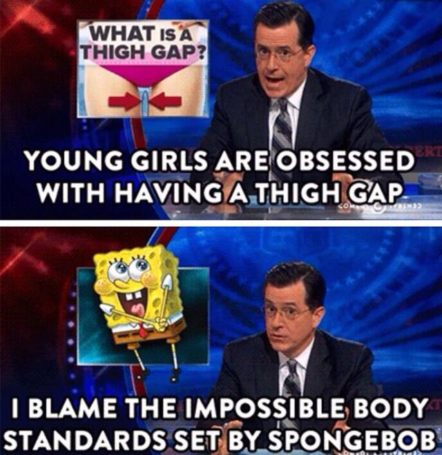 Steven Colbert on thigh gaps