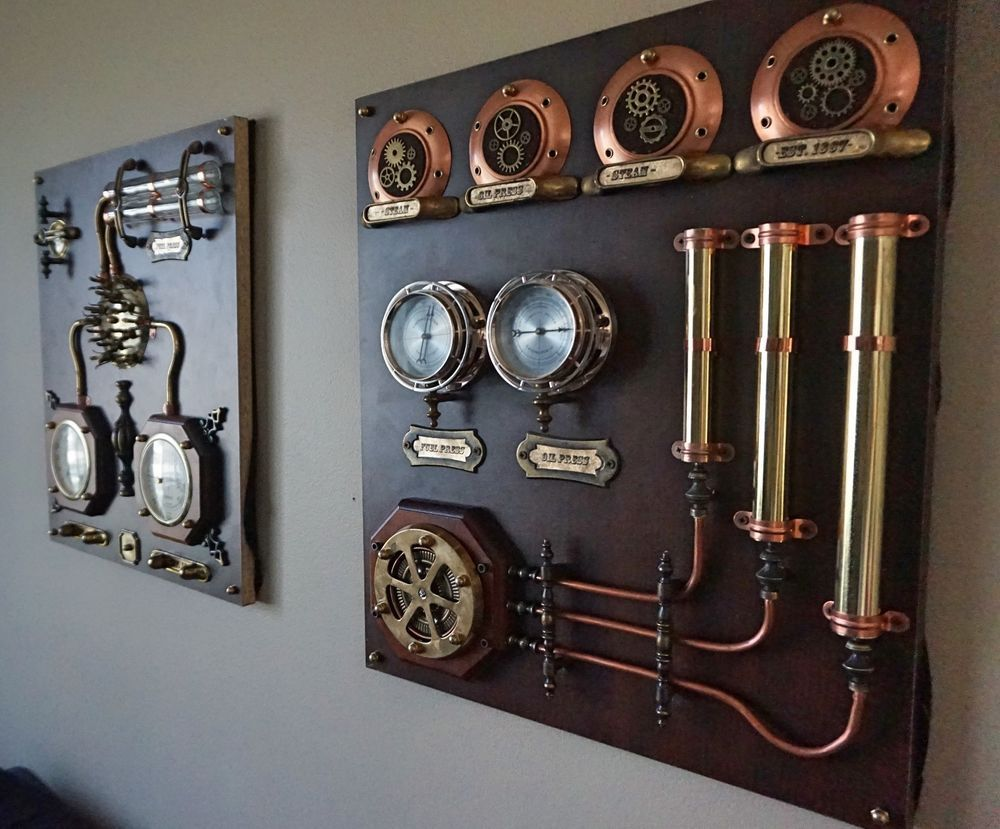 industrial art control panels 2pcs steampunk wall art home decor steampunk pinterest. Black Bedroom Furniture Sets. Home Design Ideas