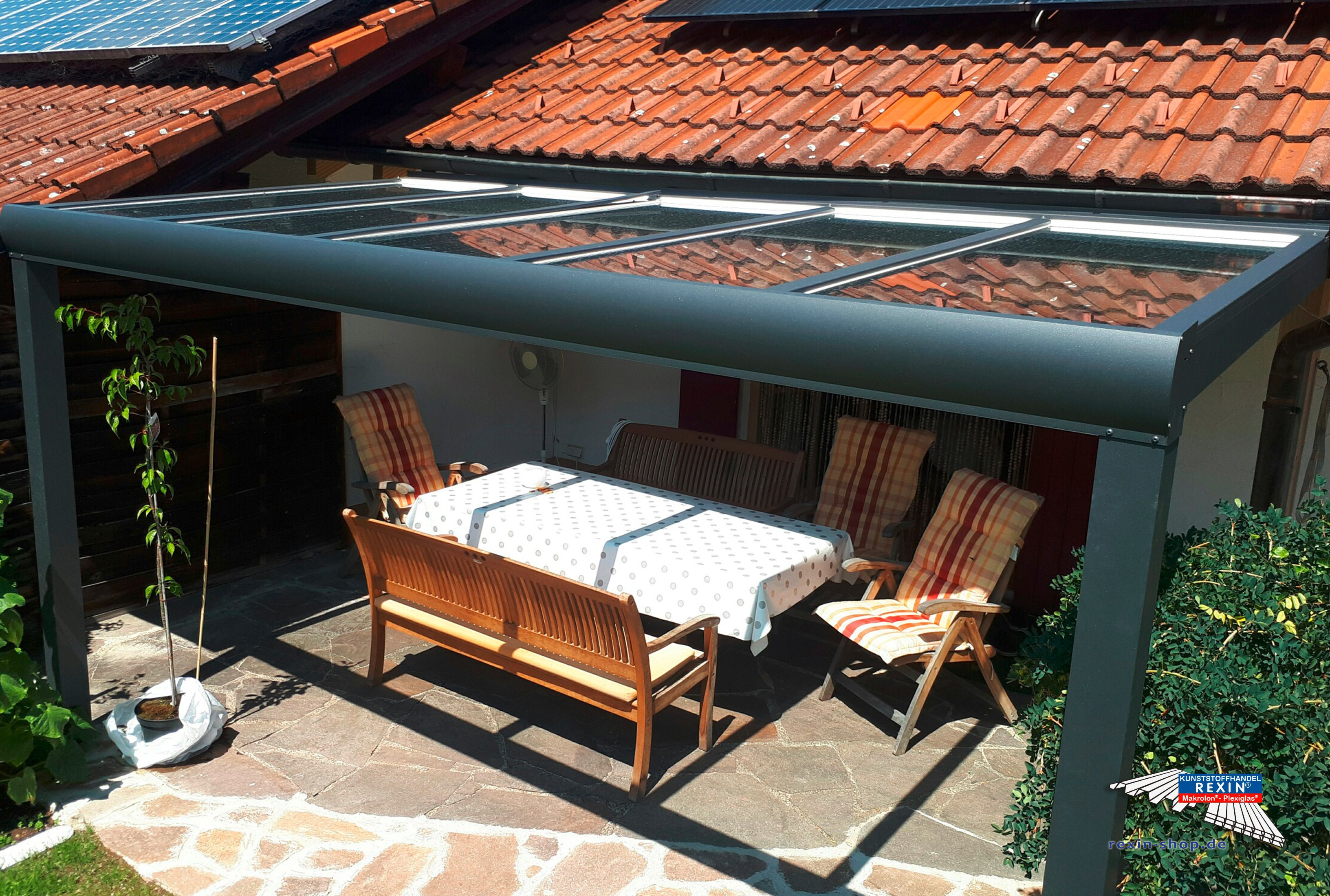 Ein Alu Terrassendach Der Marke Rexopremium Anthrazit 4m X 2m Mit