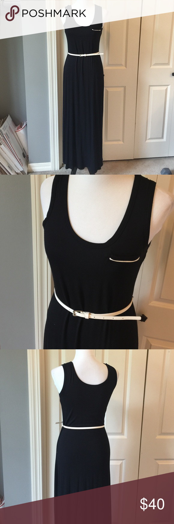 Calvin Klein Black Belted Maxi Dress Worn once. 96% rayon 4% spandex Calvin Klein Dresses Maxi