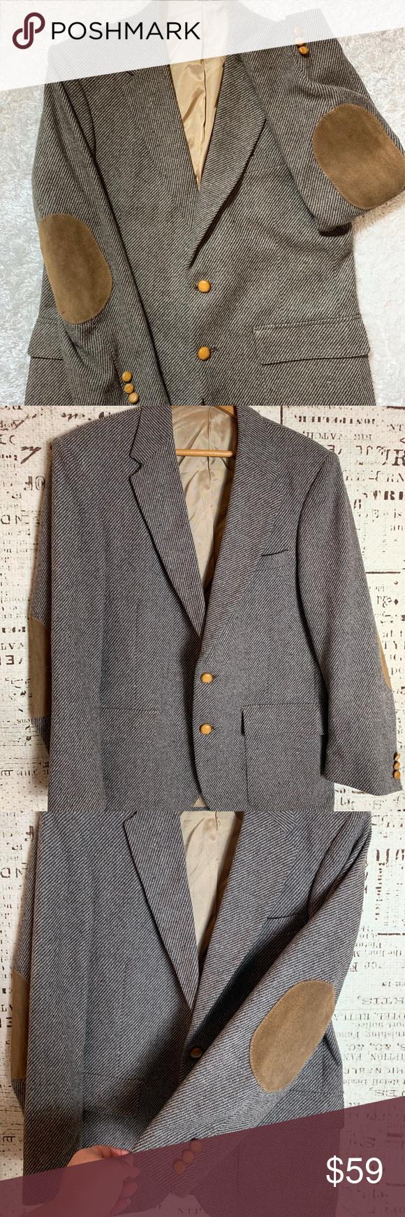 WFF by Farah Tweed Wool Blazer Suede Elbow patch WFF by