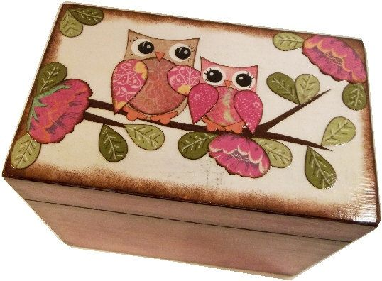 Caja de la receta, caja madera receta, receta Decoupaged caja, caja de la receta de lechuza, boda receta caja, Box de ducha nupcial, sostiene las tarjetas 4 x 6, hechas por encargo