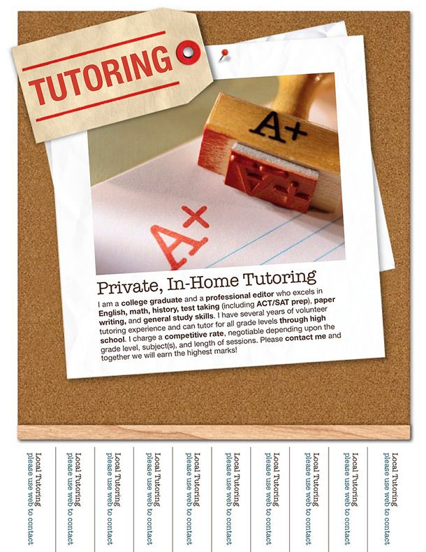 Tutor Flyer Template  CityEsporaCo