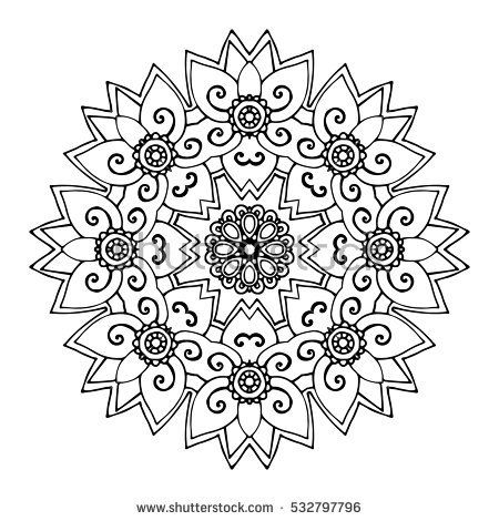 Abstract Round Ornament Mandala Background Design For Adult Coloring Book Page