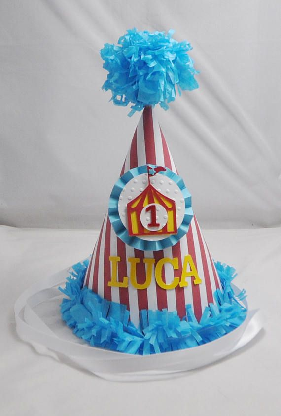 Circus Tent 1st Birthday Party Hat Personalized Baby Boy