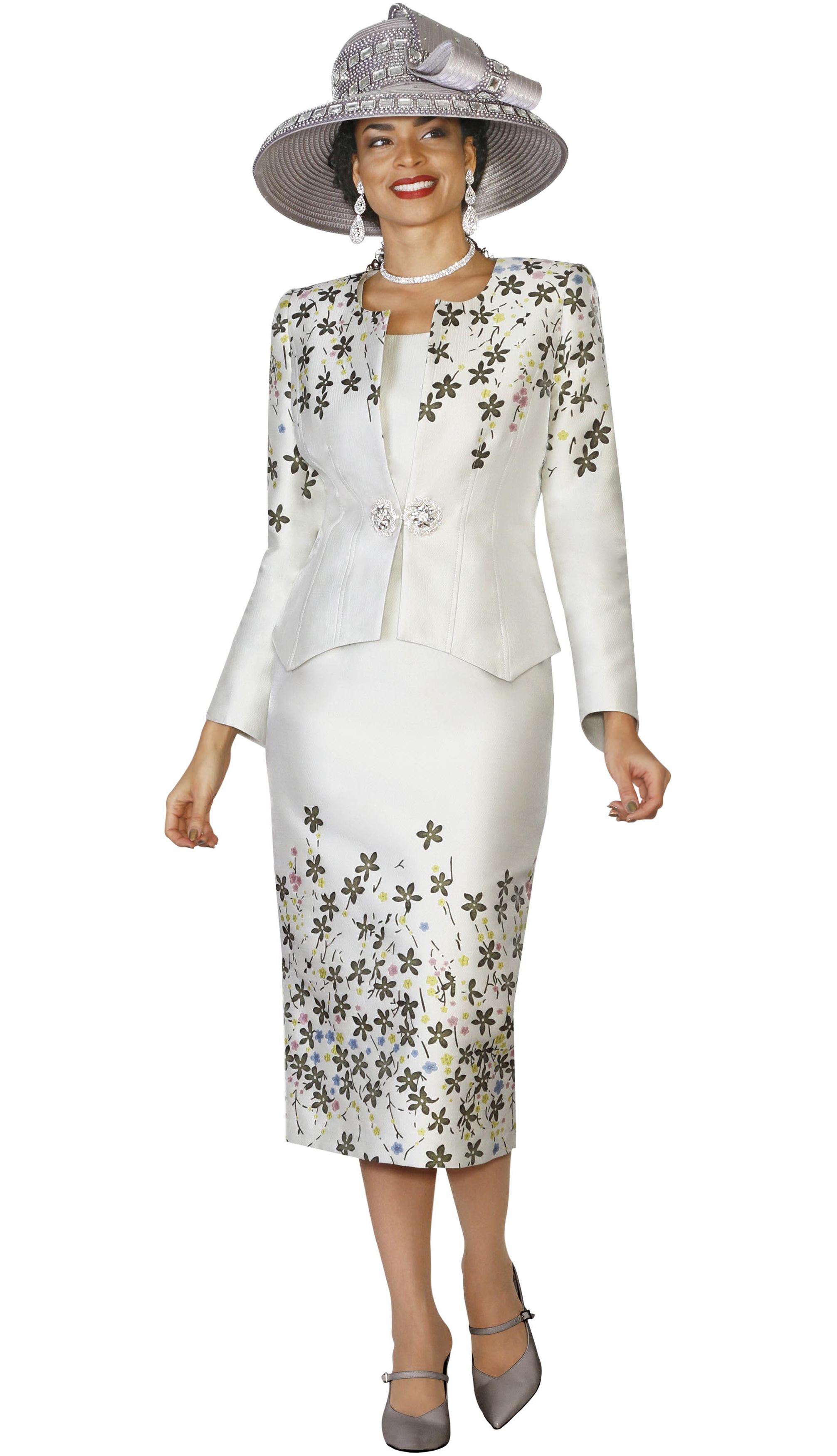 cce84ee7a2384b Style Lily and Taylor 4137 3 Piece Womens Skirt Suit With Multi Floral  Print Design Colors Silver With Multi Sizes 4 6 8 10 12 14 16 18 20 22 24