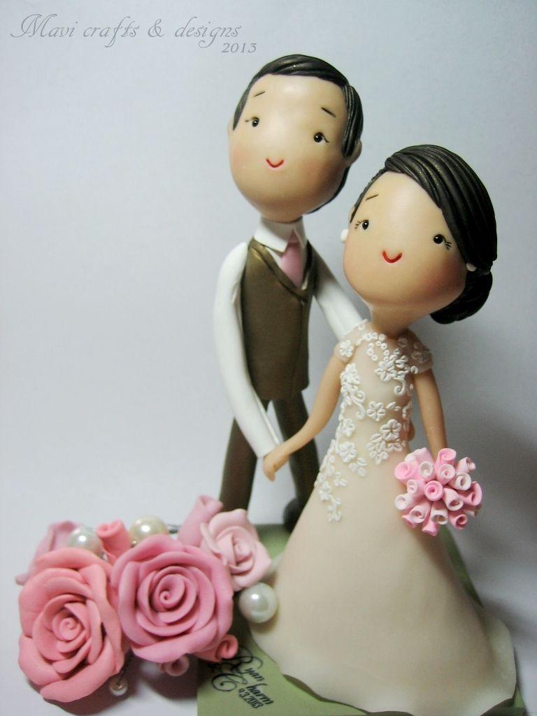 polymer clay wedding cake topper by MAVI crafts & designs | cake ...