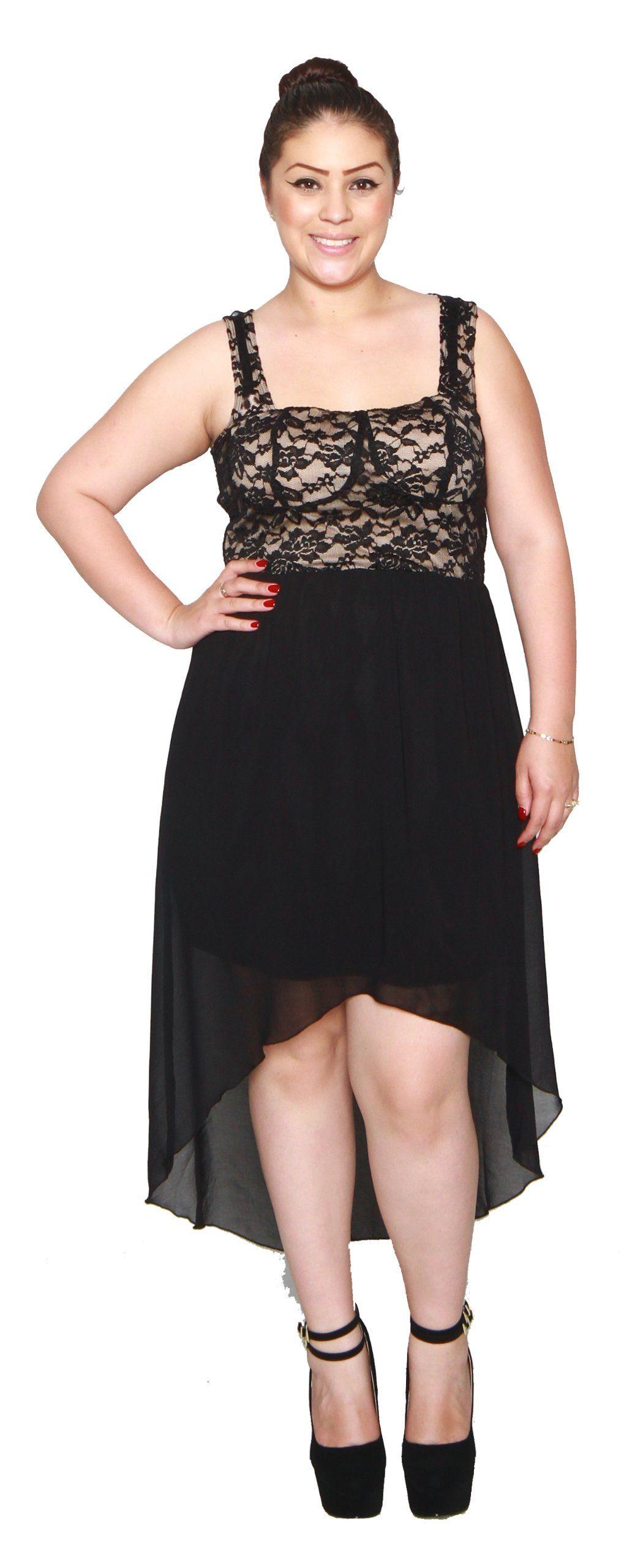 Libian Jr Plus Size Hi-low Laced Chiffon Dress (NUDE, 3X ...