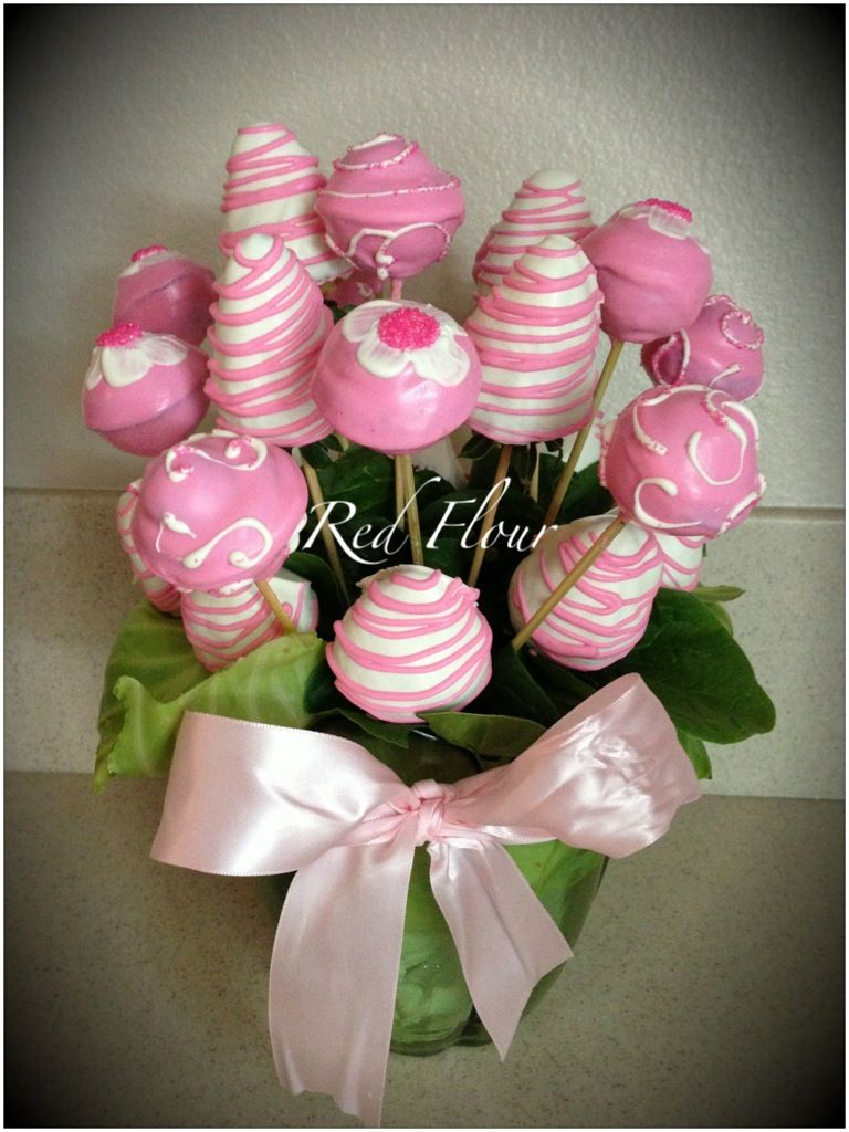 Cake pops chocolate covered strawberries vase bouquet