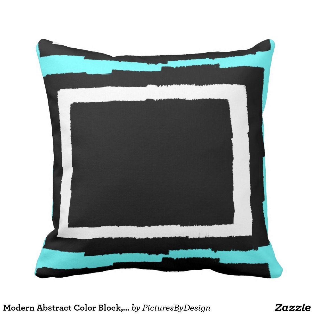 Modern throw pillow in abstract design Bold Black u White design