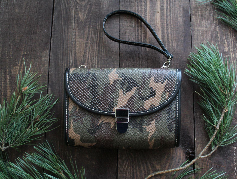 bags handmade leather Маленькая сумочка-клатч для прогулок. Размер 14,5*20 см.