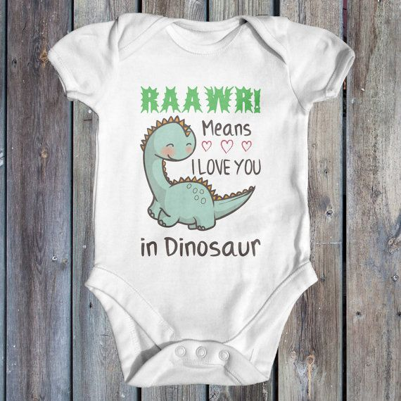Rawwr means I love you in dinosaur baby bodysuit   cute baby clothes   funny baby bodysuit   baby shower gift   newborn baby clothes   is part of Baby Clothes Dinosaur - tinytearawaysapparel