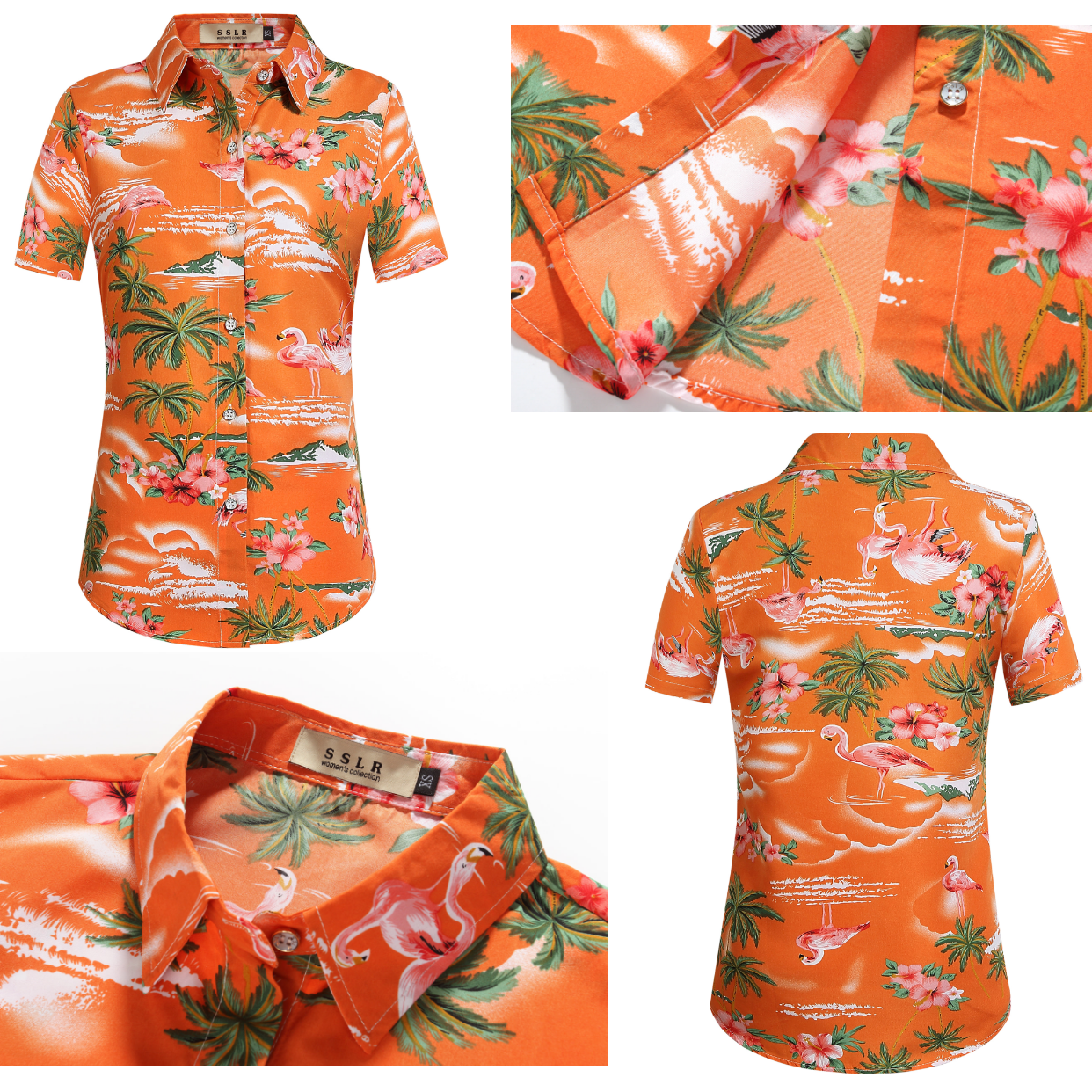99c3aac5d Women's Orange Hawaiian Shirt with Flamingos #flamingo shirts #hawaiian  shirts #tropical floral shirts