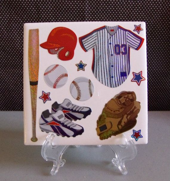 Baseball/Sports Guys Table Coaster or Room by DaisyDoodleTileShop, $6.00