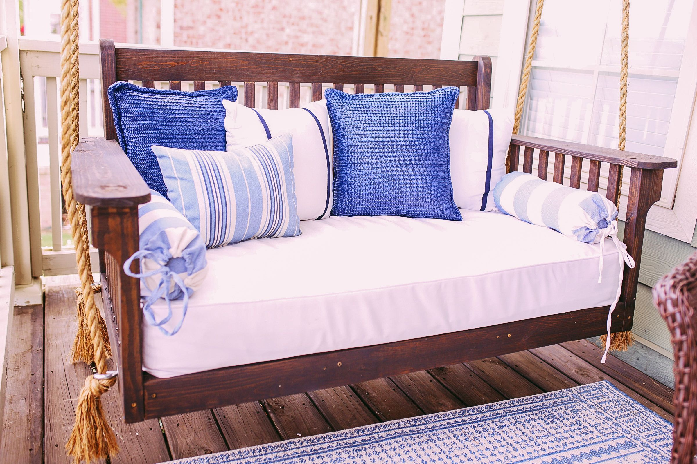 Diy Crib Mattress Front Porch Swing For Under 150 Thrifty Pineapple In 2020 Diy Crib Mattress Porch Swing Diy Crib